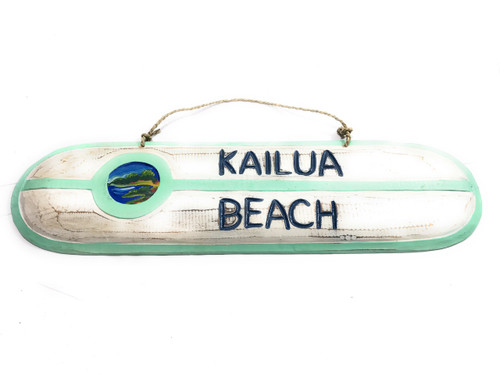 """Kailua Beach"" Wooden surf sign 20"" w/ custom painting 