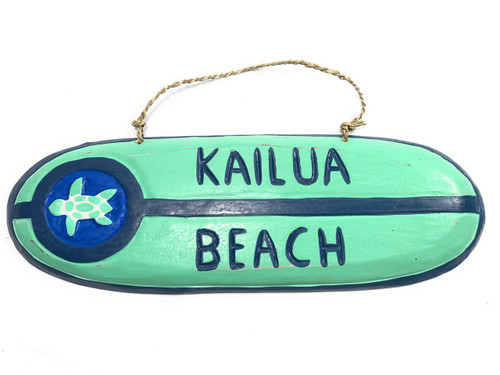 """Kailua Beach"" Wooden surf sign 16"" w/ Honu painting 