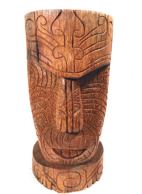 "Moai Tattoo Face Tiki Statue 20"" - Natural Pool Decor 