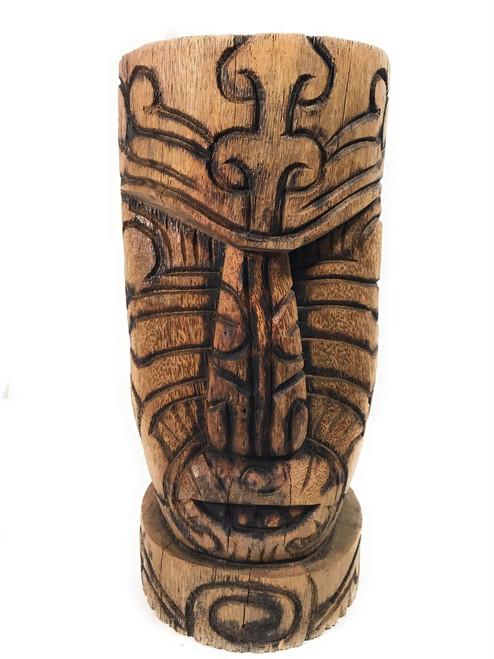 "Moai Tattoo Face Tiki Statue 20"" - Burnt Finish Technique | #lbj303850b"