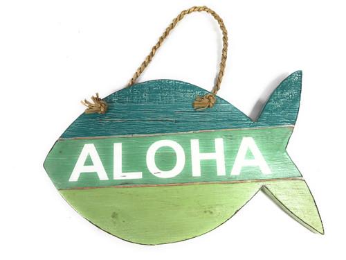 """Aloha"" Fish Sign Beachy on Wood Planks Green 13"" X 8"" | #nik3219b"