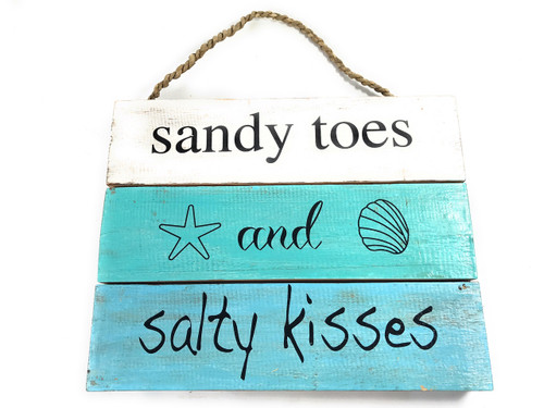 """Sandy Toes And Salty Kisses"" Beach Sign on Planks 12"" X 9.5"" 