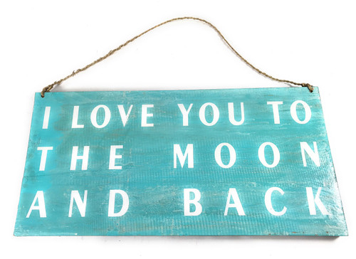 """""""I Love You To The Moon And back"""" Beach Sign on Wood 16"""" X 8""""   #nik3226"""