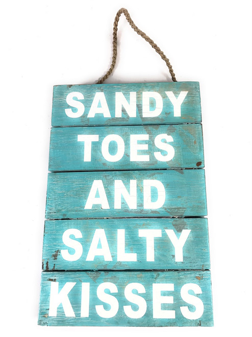 """""""Sandy Toes And Salty Kisses"""" Beach Sign on Wood Planks 12"""" X 8"""" 