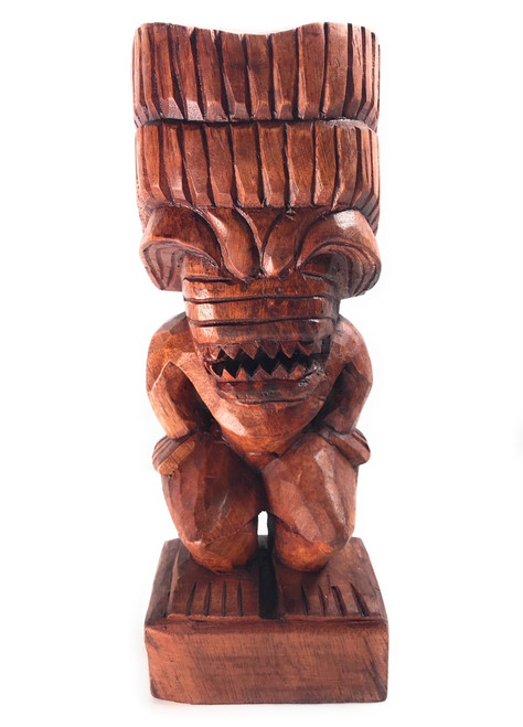 "Hand Carved Authentic#yda113750 Traditional Tiki Kuka Ilimoku 20/"""