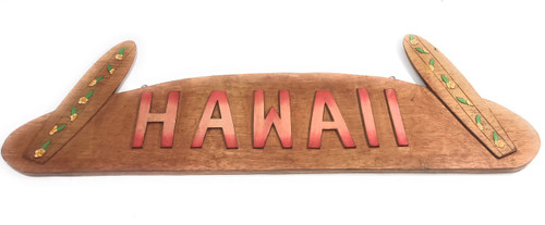 "Hawaii Sign w/ Surfboards Wooden Sign 36"" X 11"" 