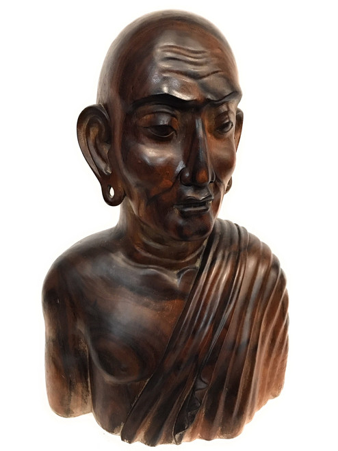"Exquisite Monk Bust 32"" Hand Carved 