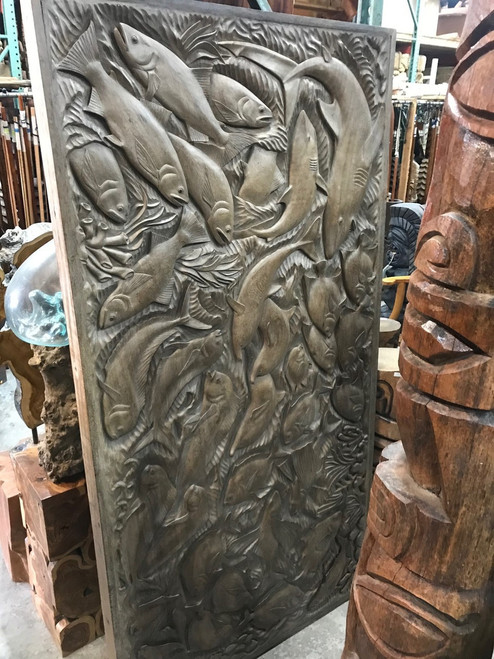 """Exquisite Fish Storyboard Relief 81"""" X 41"""" - Hand Carved   #rta10"""
