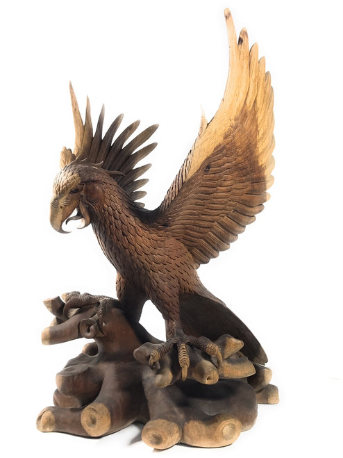"Exquisite Hand Carved Eagle 33"" X 20"" - Hand Carved 