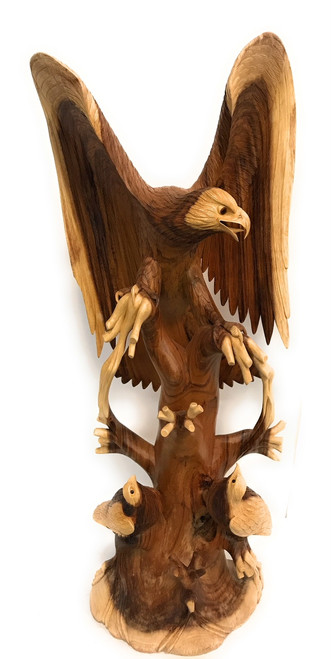 "Exquisite Hand Carved Eagle Scene 40"" X 16"" - Hand Carved 