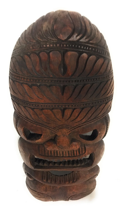 """Premium Love Tiki Mask 18"""" Stained - Hand Carved 