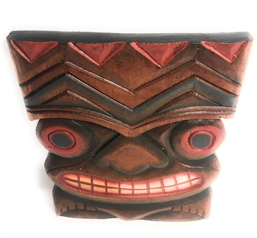 "Happiness Tiki Mask 8""X6"" - Wall Plaque Hand Carved 