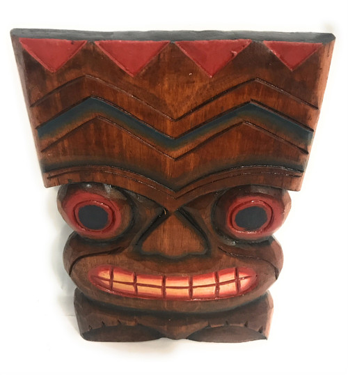 """Happiness Tiki Mask 12""""X8"""" - Wall Plaque Hand Carved 