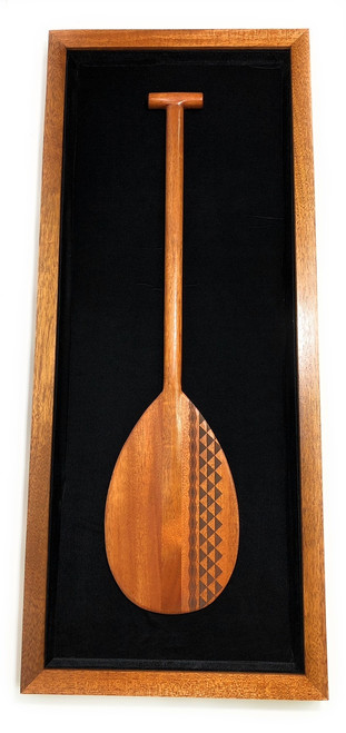 "Koa Shadow box w/ Tribal Oar 42""X 18"" - Black Velvet - Made In Hawaii 