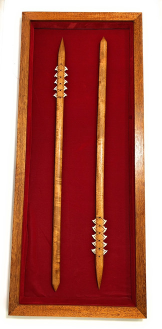 "Koa Shadow box w/ Spears 42""X 18"" - Red Velvet - Made In Hawaii 