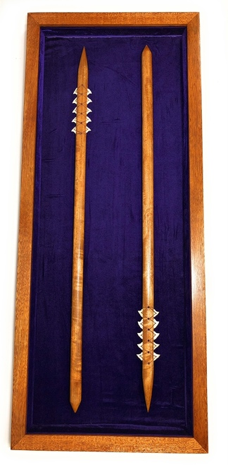 "Koa Shadow box w/ Two 36"" Spears 42""X 18"" - Purple Velvet - Made In Hawaii 