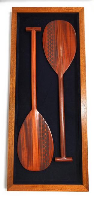 "Koa Shadow box w/ Tribal Oars 42""X 18"" - Black Velvet - Made In Hawaii | #koasb17"