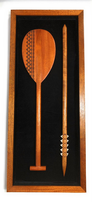 "Koa Shadow box w/ Tribal Oar & Spear 42""X 18"" - Black Velvet - Made In Hawaii 