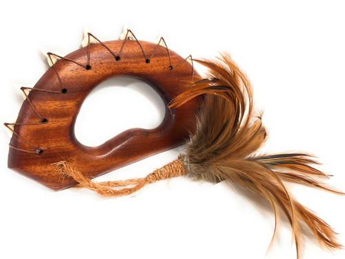"Ali`i Koa Knuckle Duster 9"" w/ Shark Teeth Brown Feathers| #koa4101d"