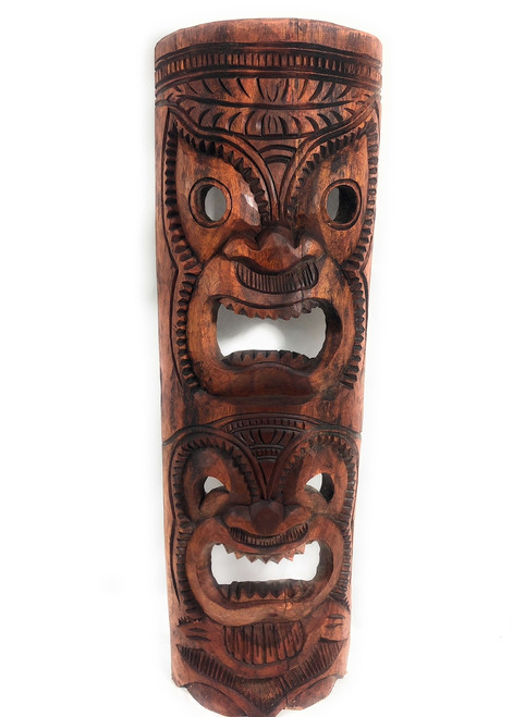 "Premium Love & Happiness Tiki Mask 40"" Stained - Hand Carved 