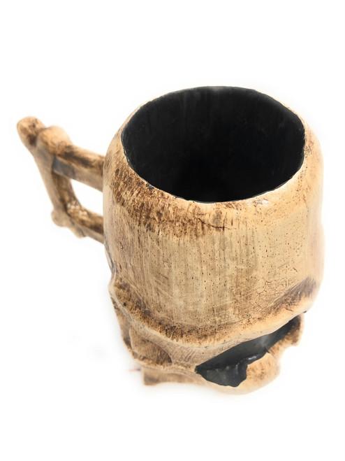"Decorative Wooden Skull Mug 7"" X 6"" Keepsake Box | #kng21043"