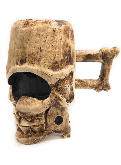 "Decorative Wooden Skull Mug 7"" X 6"" Keepsake Box   #kng21043"