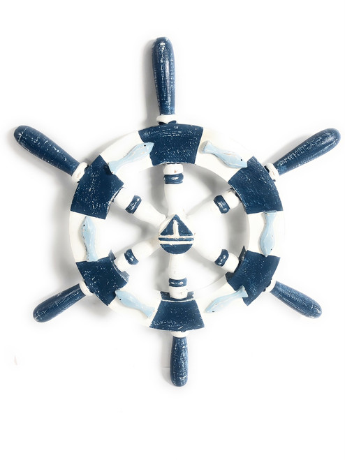 "Decorative Ship Wheel 20"" Wooden - Rustic Blue Nautical Decor   #ort1701050b"