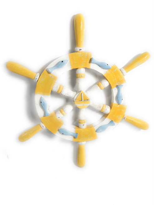 "Decorative Ship Wheel 20"" Wooden - Rustic Yellow Nautical Decor 