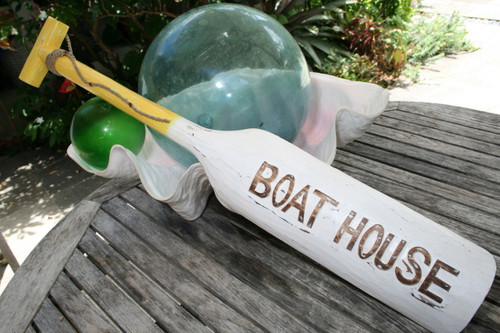"""Boat House Oar 40"""" Wall Hanging - Rustic Yellow Nautical Decor 
