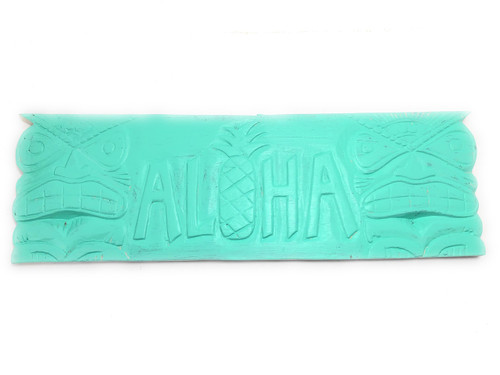 """Aloha Sign 24"""" w/ Tikis - Limited Edition Turquoise   #dpt503660t"""