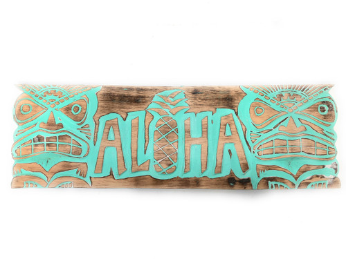 """Weathered Aloha Sign 24"""" w/ Tikis - Limited Edition Turquoise   #dpt503660tw"""