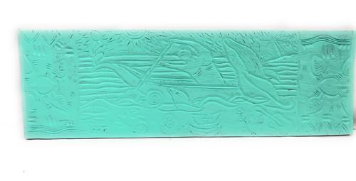 "Canoe Paddler Hawaiian Scene Wood Panel 40"" X 12"" Polynesian Wall Art   #dpt5028100t"