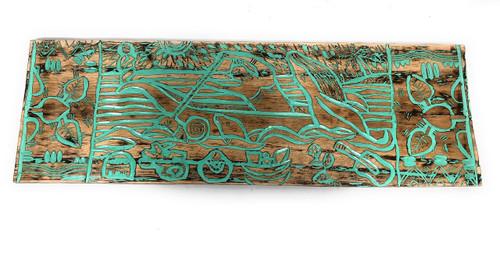 "Canoe Paddler Hawaiian Scene Wood Panel 40"" X 12"" Polynesian Wall Art | #dpt5028100tw"