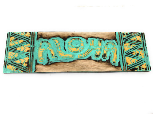 "Aloha Sign w/ Tribal Design 24"" - Weathered Turquoise 