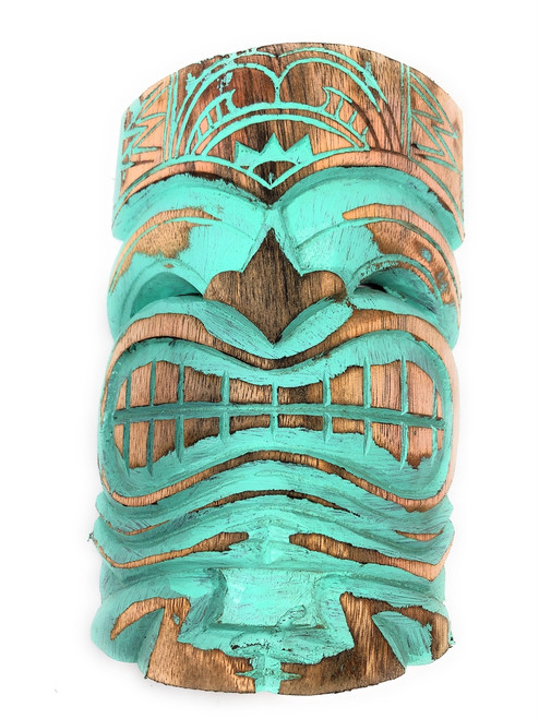 "Love Tiki Mask 8"" Turquoise Weathered Finish - Tropical Decor 