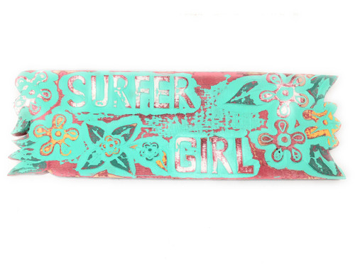 """Surfer Girl Sign w/ Plumeria Flowers 24"""" - Turquoise Weathered 