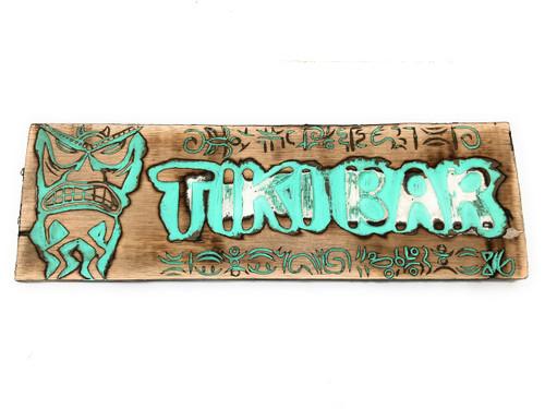 """Tiki Bar Sign 24"""" w/ Petroglyph Tiki Design - Turquoise Weathered   #dpt506860tw"""