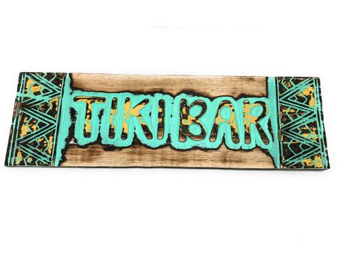 "Tiki bar Sign w/ Tribal Design 24"" - Hand Carved   #dpt1200260tw"