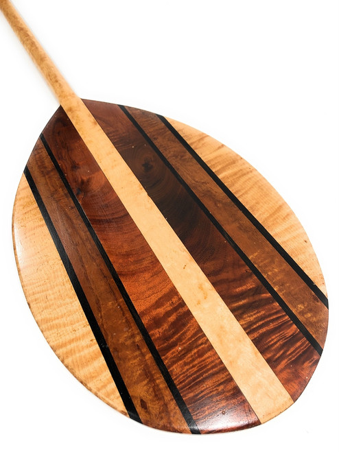 "Curly Koa Outrigger Paddle 50"" w/ Maple Inlays T-Handle - Made in Hawaii - 