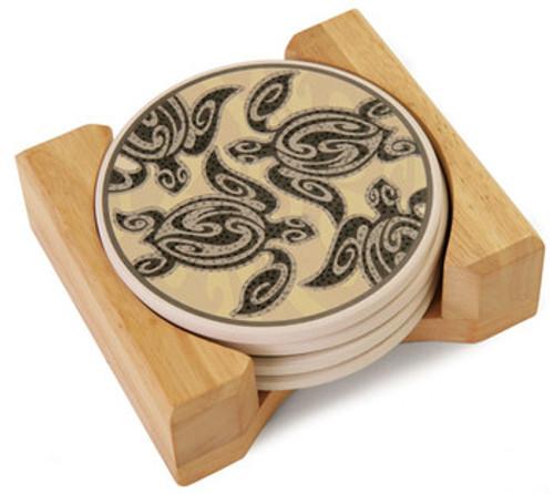 Tribal Honu Hawaiian Ceramic Coasters - Brown Island Chain | #ig27616