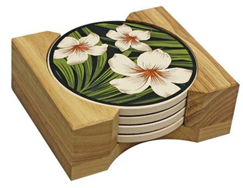 Hawaiian Ceramic Coasters - Plumeria Palm | #ig27623