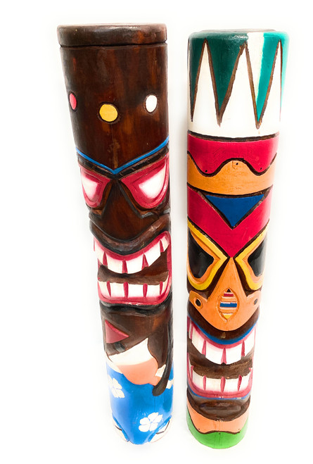 "Set of 2 Tiki Totem Poles 40"" - Tiki Bar Decor Island Art 