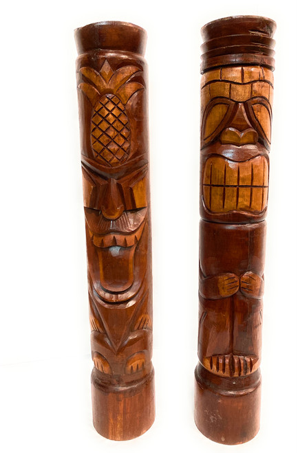 "Set of 2 Tiki Totem Poles 40"" - Big Kahuna & Hospitality Island Decor  