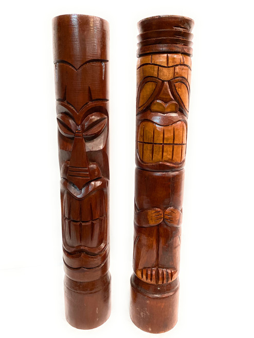 "Set of 2 Tiki Totem Poles 40"" - Big Kahuna & Da Chief Island Decor  