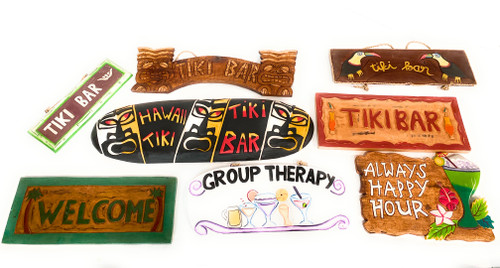Set of 8 Tiki Bar Signs - Hand Carved & Hand Painted  | #dptpk6