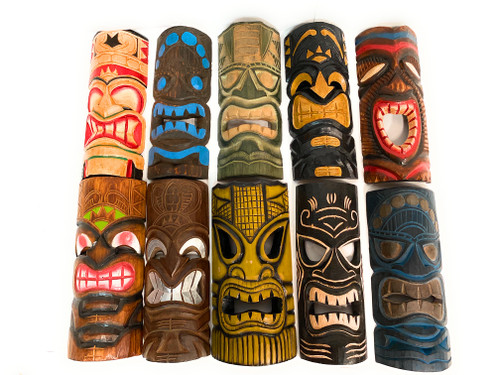 "Set of 10 Tiki Masks 12"" Hand Carved - Tiki Bar Island Decor  