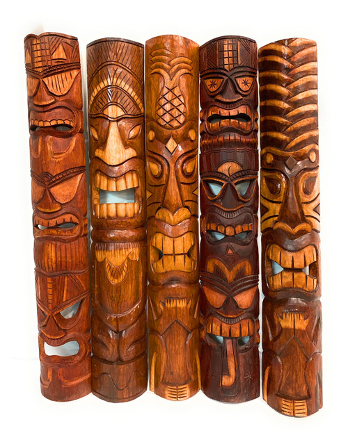 "Set of 5 Tiki Masks 40"" Hand Carved - Tiki Bar Island Decor  