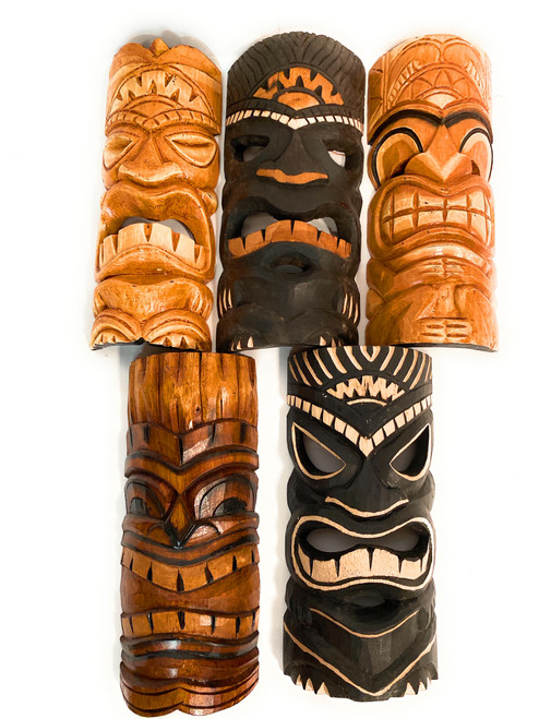 "Set of 5 Tiki Masks 12"" Hand Carved - Tiki Bar Island Decor  