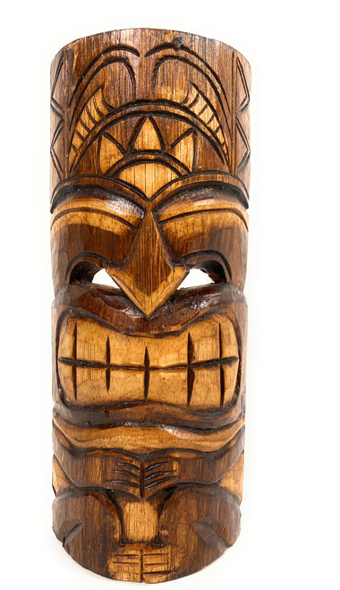 """Happiness Tiki Mask 12"""" - Antique Finish hand Carved 