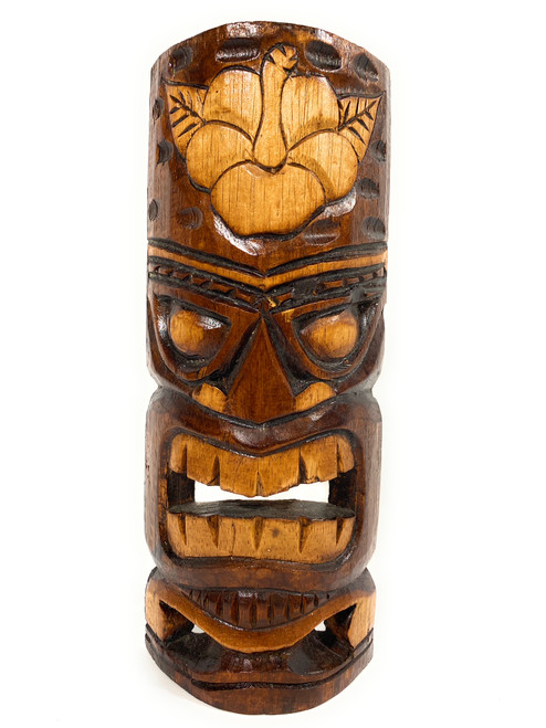 """Forever Love Tiki Mask 12"""" - Hibiscus Antique Finish hand Carved 